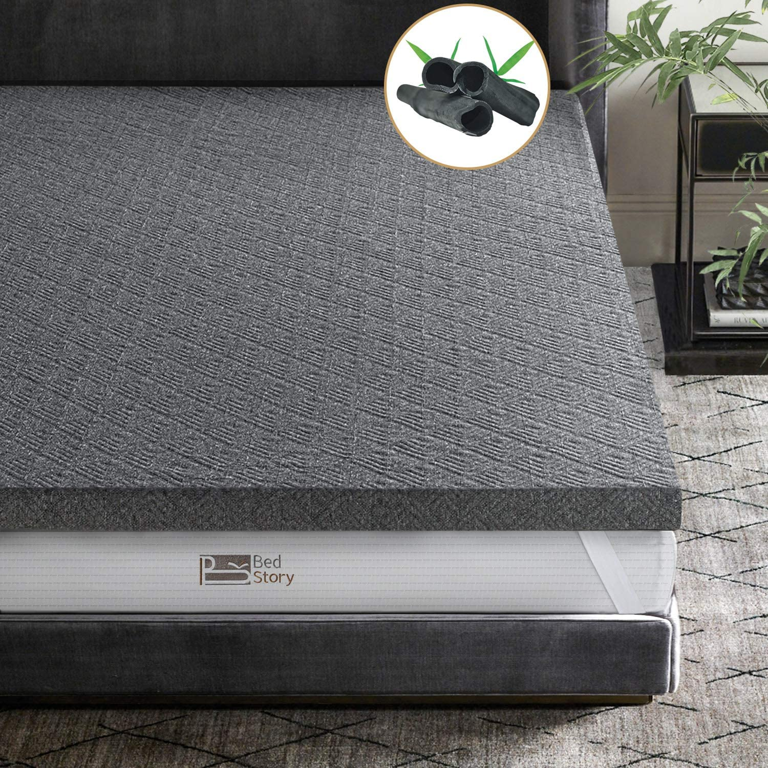 BedStory 2 Inch Memory Foam Mattress Topper Queen Size, Bamboo Charcoal Infused Bed Toppers, Foam Mattress Pad with Removable Washable Cover, CertiPUR-US Certified High-Density Memory Foam