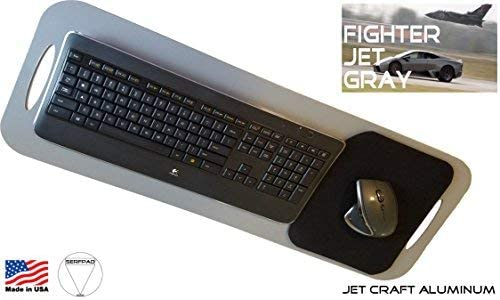SERFPAD TV Tray: Office - The Portable Keyboard Tray That Secures Your Best Full-Size Keyboard & Mouse (Works with All Brands) Made in America USA from Rigid Jet Craft Aluminum in Fighter Jet Gray.
