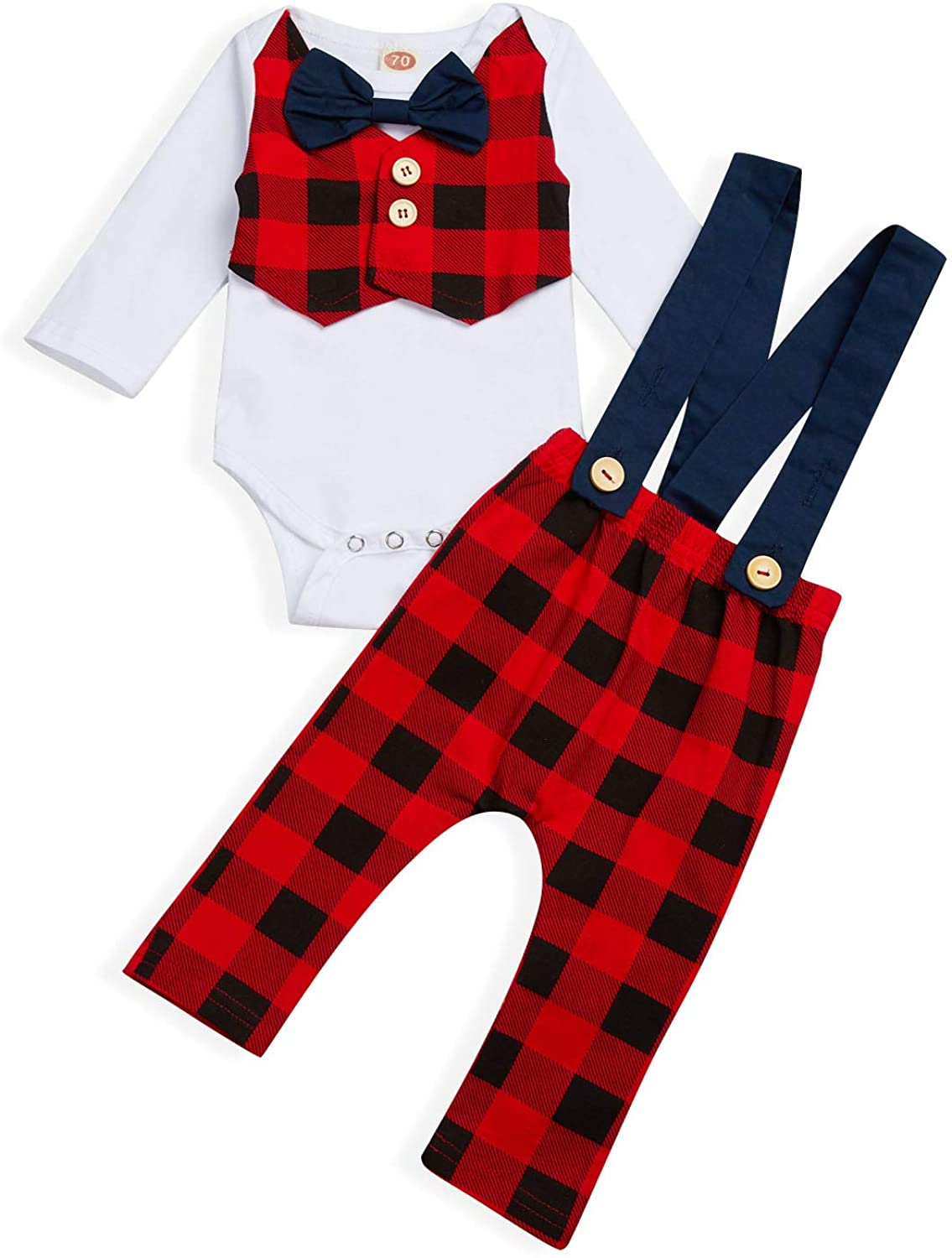 Baby Boy Christmas Suspender Outfits Toddler Gentleman Long Sleeves Romper Red Plaid Pants 2Pcs Fall Clothes