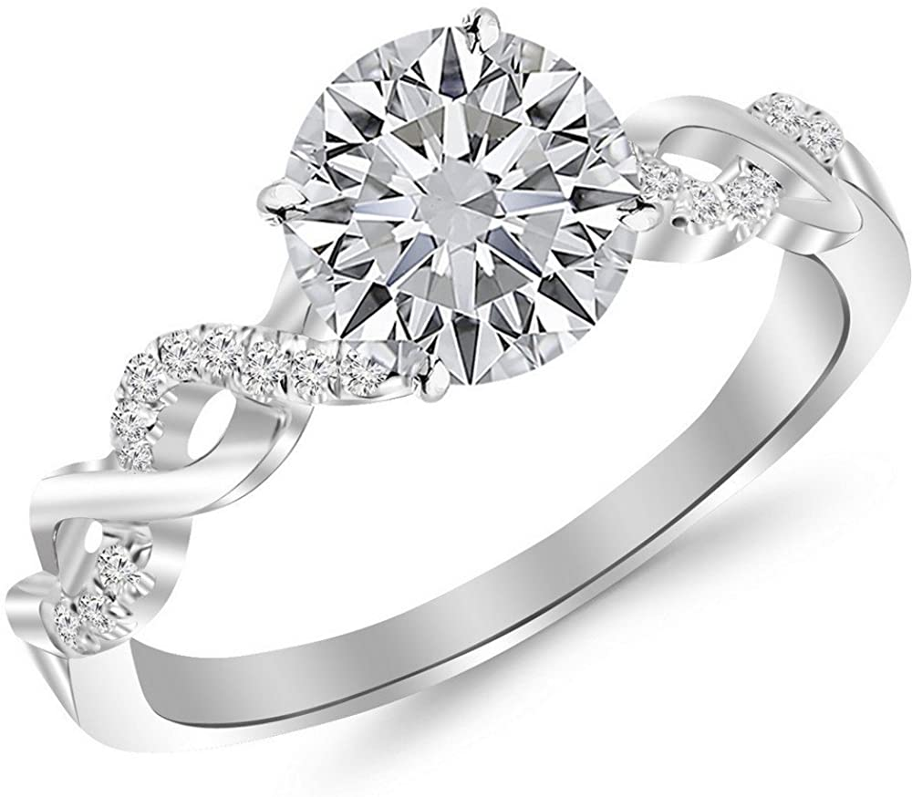 1 Carat 14K White Gold Twisting Infinity Gold and Diamond Split Shank Pave Set Round Cut Diamond Engagement Ring (0.81 Ct I Color SI2 Clarity Center Stone)