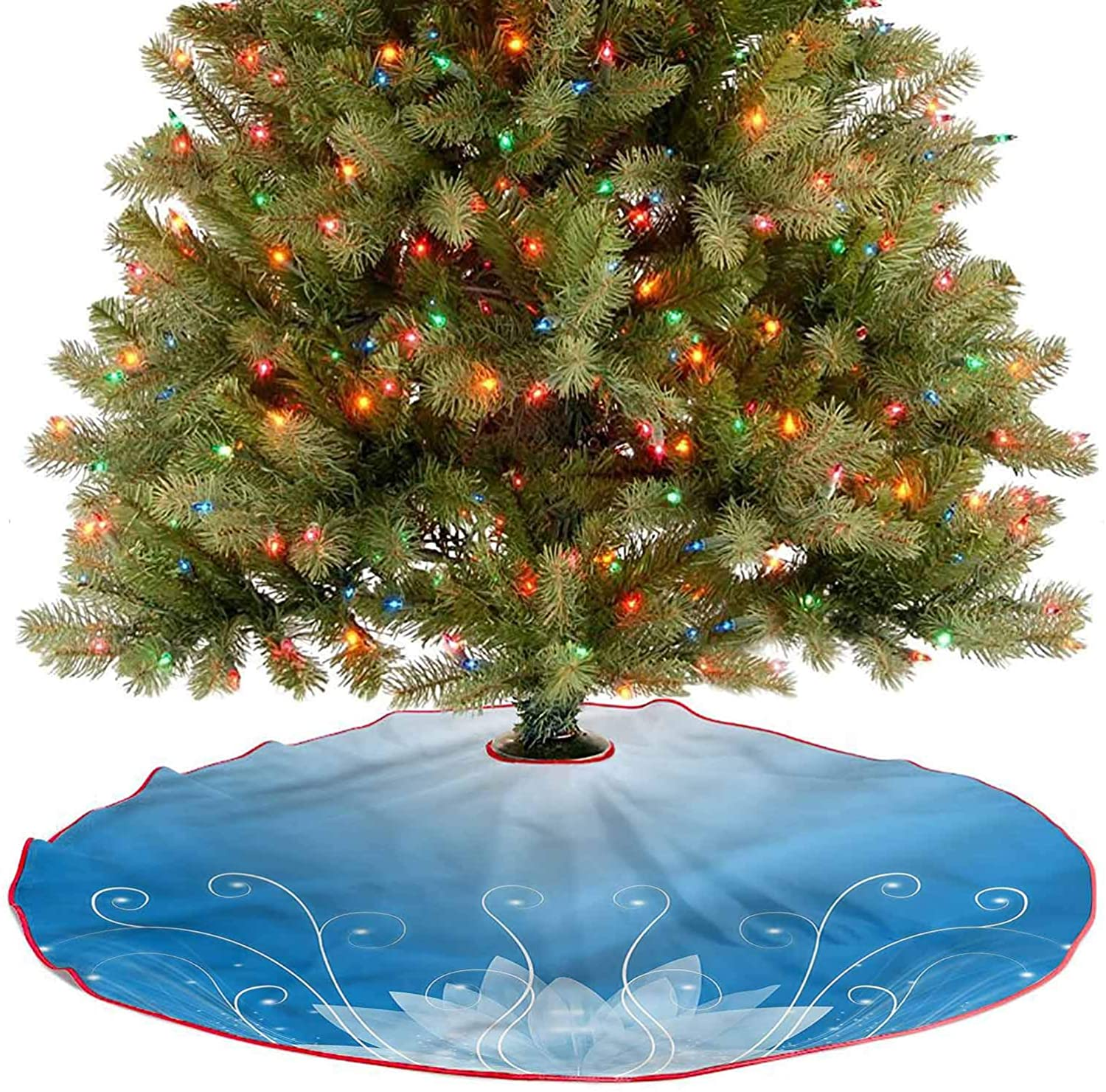 ThinkingPower Soft Christmas Tree Mat Botany Theme Flowers Pattern Fine Decorative Handicraft for Christmas Tree Holiday DéCor Diameter - 48 Inch
