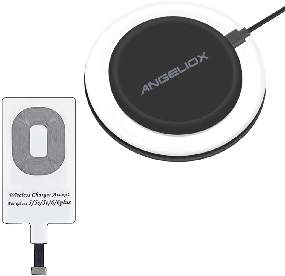 ANGELIOX Wireless Charger, Wireless Charging Compatible iPhone 7/7 Plus / 6/6 Plus / 6s / 5Se / 5s / 5c / 5 and All Qi-Enabled Phones (Qi Receiver Included)