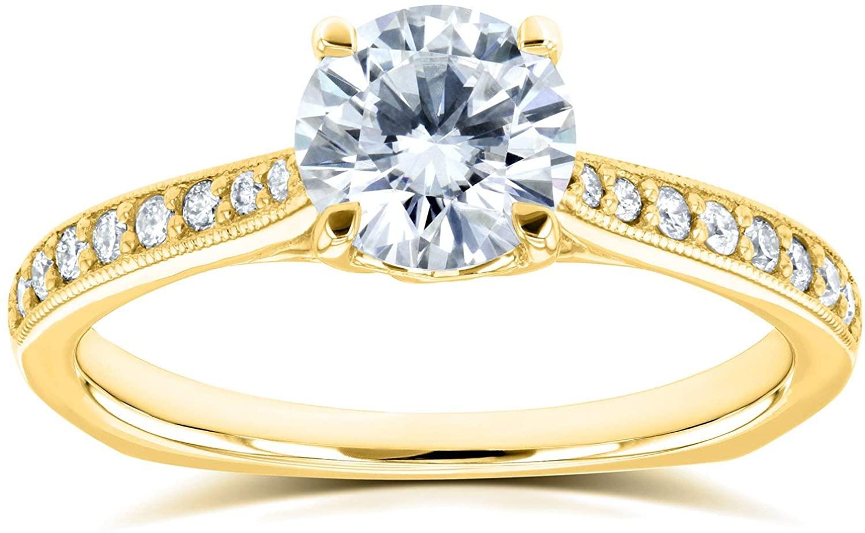 Kobelli Round Moissanite (FG) Vintage Trellis Engagement Ring 1 1/5 CTW 14k Yellow Gold
