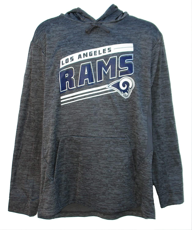 NFL Team Apparel Los Angeles Rams Mens Large Performance Hooded Sweatshirt - Charcoal Gray