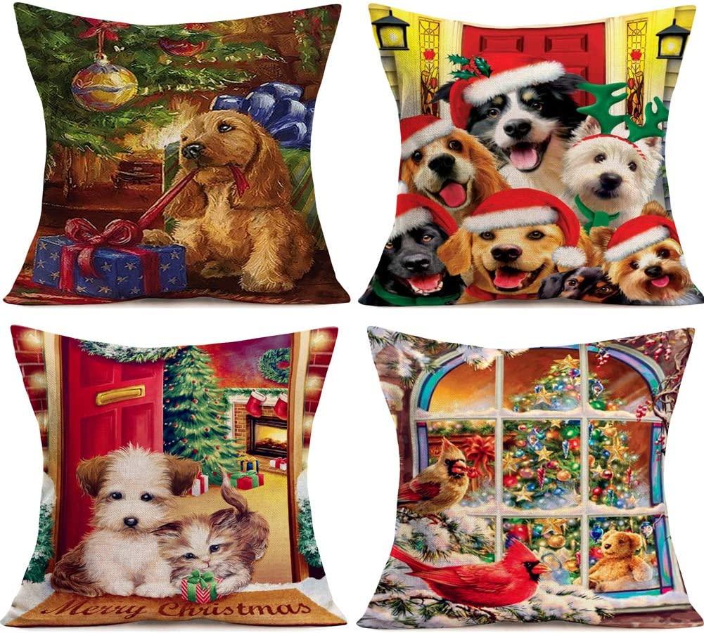 Hopyeer Xmas Lovely Animals Decoration Throw Pillow Covers Merry Christmas Family Pet GoldenRetriever Labrador Dogs Kitten with Red Cardinal Bird Pillowcase Home Cushion Cover 18x18 (XL-Animals)