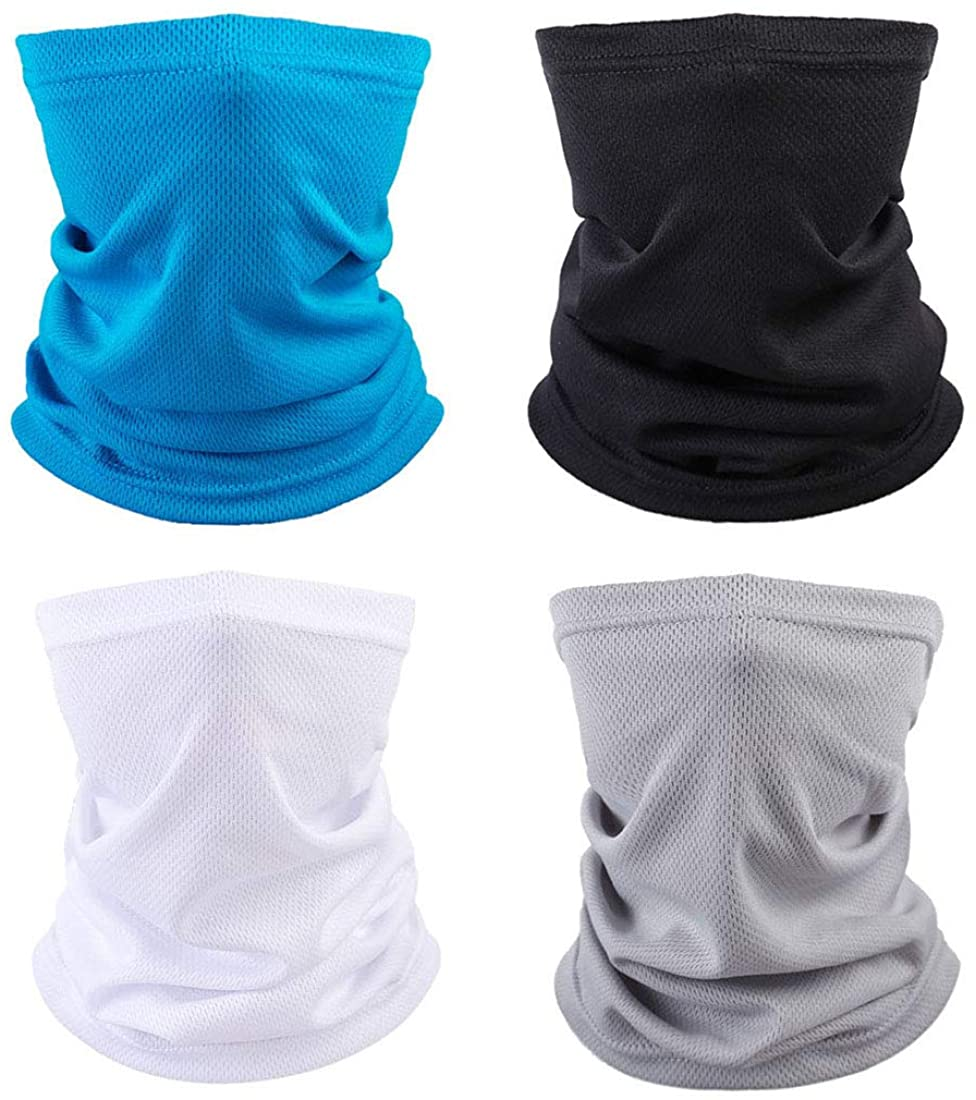 Genovega 4 Packs Breathable Neck Gaiter, Face Cover for Hiking Fishing Sport Outdoor, Washable and Reusable