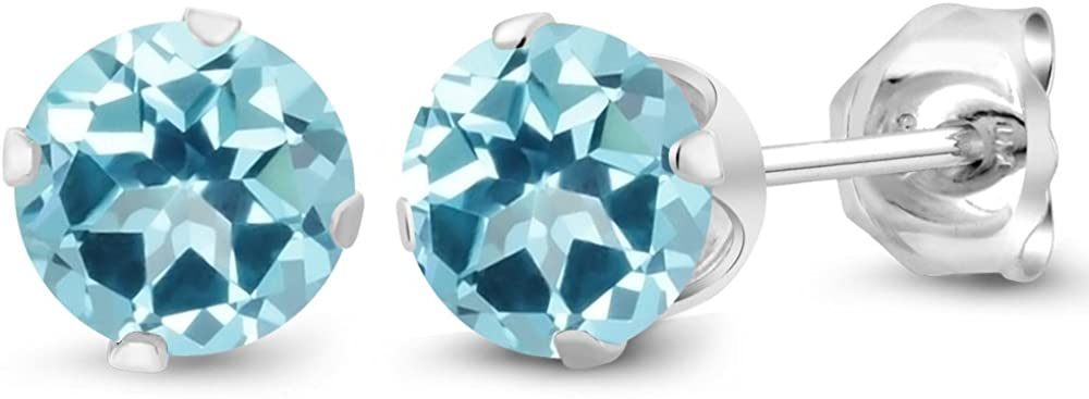 925 Sterling Silver Stud Earrings Set with Round Ice Blue Topaz from Swarovski