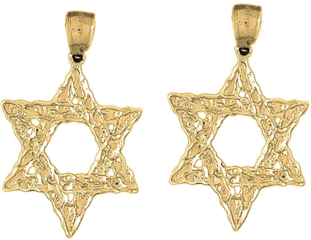 Jewels Obsession Star of David Earrings | 14K Yellow Gold Star of David Lever Back Earrings - Made in USA