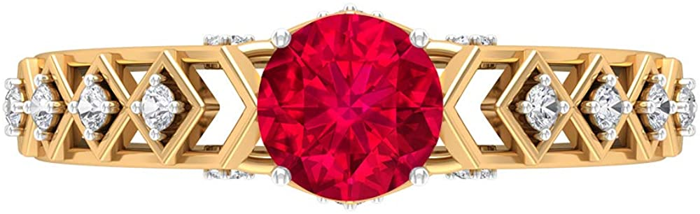 6MM Ruby Engagement Ring, Vintage Solitaire Ring with Side Stones, D-VSSI Moissanite Gold Ring, Crown Setting Engagement Ring, 18K Gold