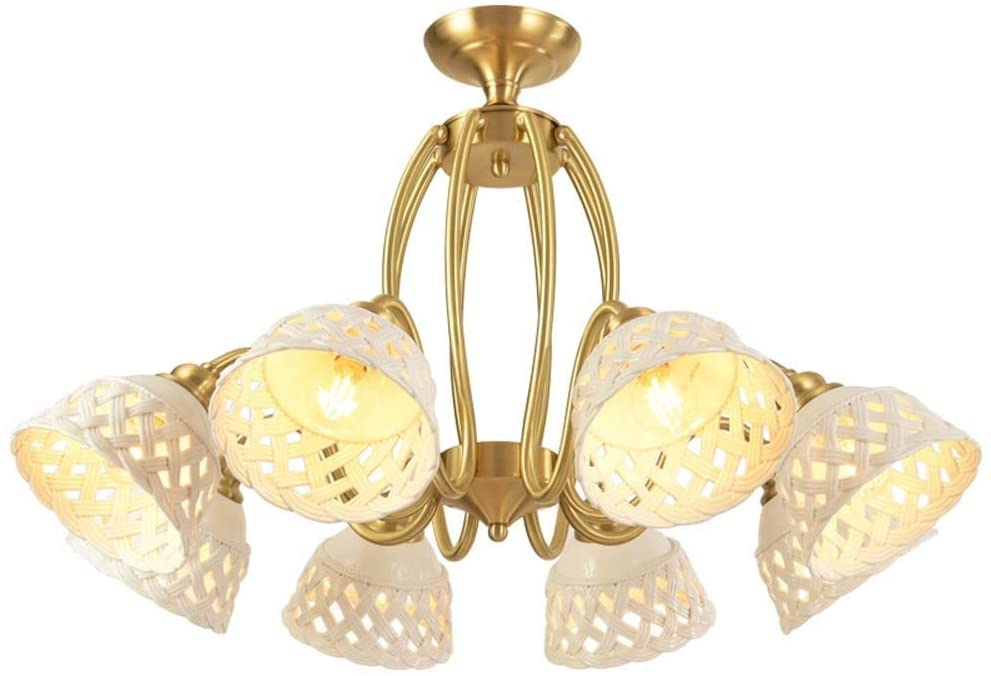 YiCan Nordic LLED Chandelier Luxury Creative Personality Restaurant Lighting Ceramic Chandelier 5 Head Easy to Install (Diameter 65 Height 48 cm) Good Material