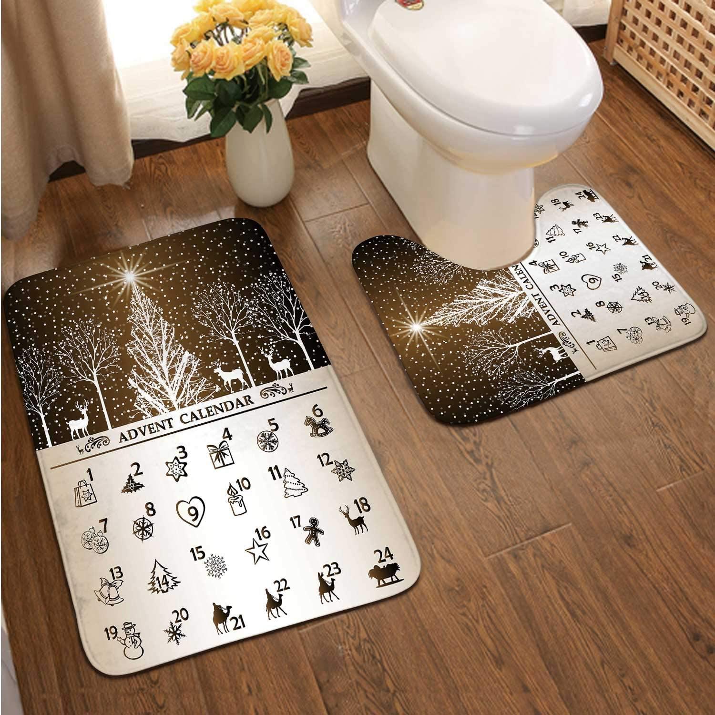 Advent Calendar Number,2 Pieces Bathroom Bath Rugs Set, Soft Flannel U Shaped Toilet Floor mat,Mat for Bathroom Countone Size