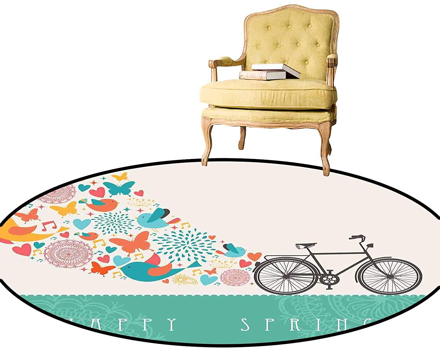 Round Area Rug Happy Spring Themed Bike Concept with Blossomed Bird and Butterflies Fresh Print Chair Pad Can Be Dry Cleaned Teal Grey Diameter - 1.3 Feet