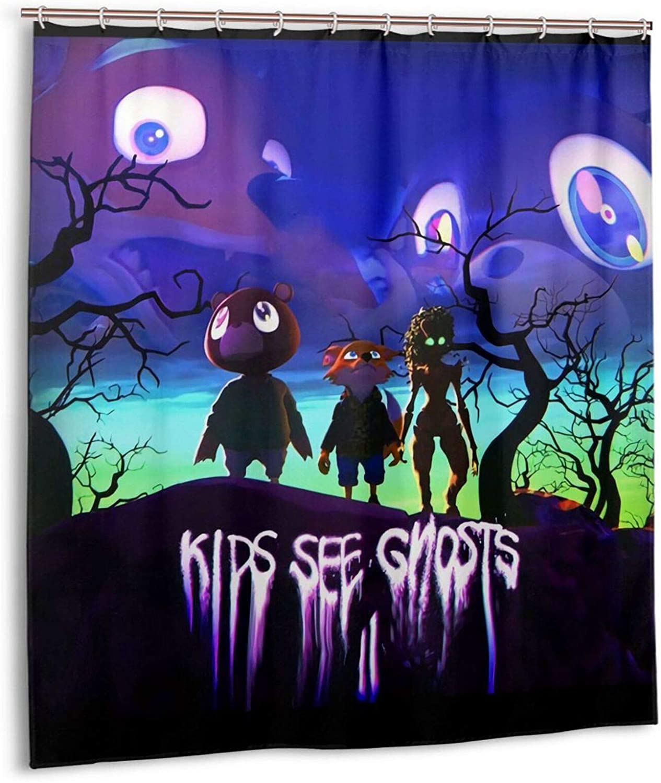 Majunnn Kids See Ghosts Kid-Cudi Cool Pattern Shower Curtain Efficient Quick Drying Bathroom Decorative Shower Curtain (66x72 in)