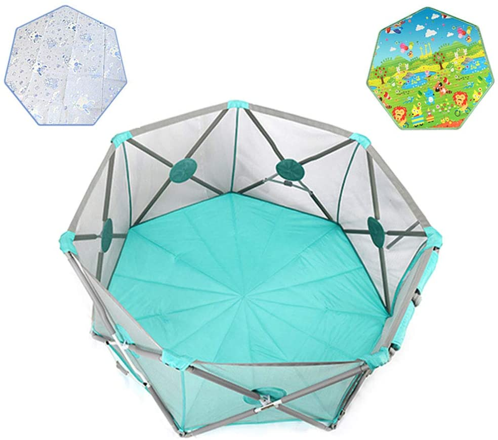 Portable Baby Ball Pit Tent Playpen - with Ball,Crawling Mat,Cool Mat,Door - Toddler Foldable Playards Fence,Indoors Outdoors Safety Gates for Infant Kids Activity Center