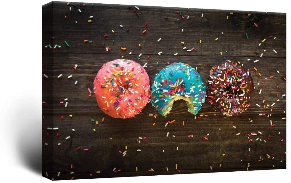 wall26 Canvas Wall Art - Donuts and Colorful Glaze Toppings - Giclee Print Gallery Wrap Modern Home Art Ready to Hang - 24x36 inches