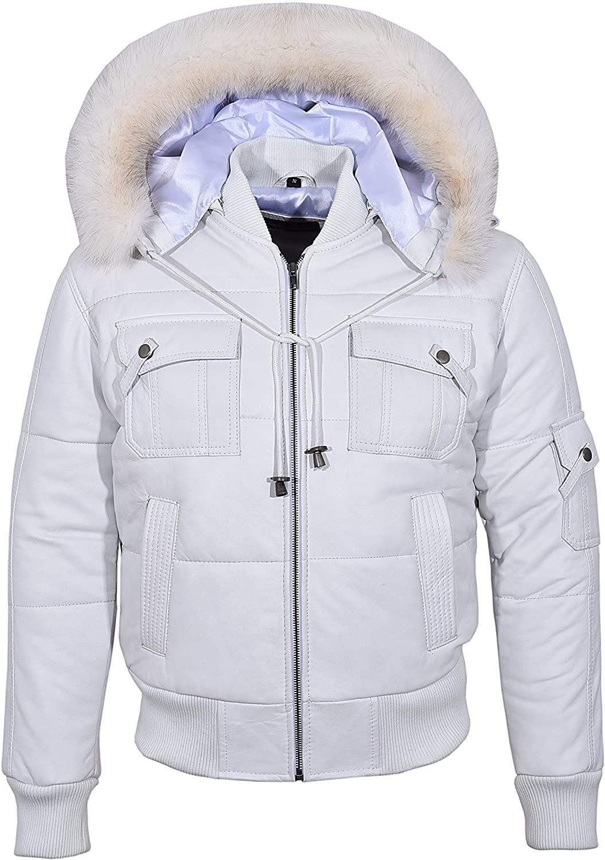 Smart Range New Pilot SIX Puffer Men's White Hooded Bomber Real Lambskin Leather Jacket