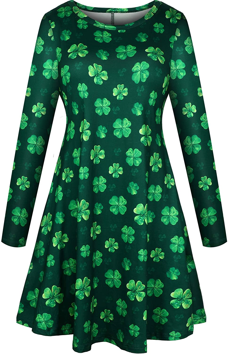 SATINIOR Womens St Patricks Print Dress Casual Shamrock Clover Long Sleeve Flared Tunic Dress (Green Four-Leaf Clover, M)