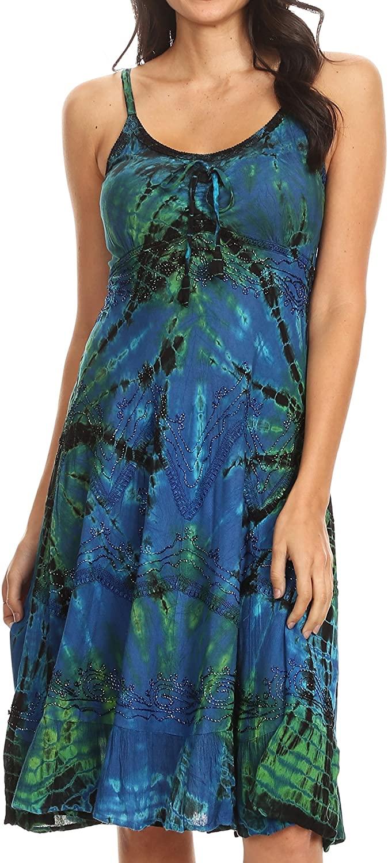 Sakkas Zoe Women's Summer Bohemian Spaghetti Strap Short Dress Tie Dye Embroidered