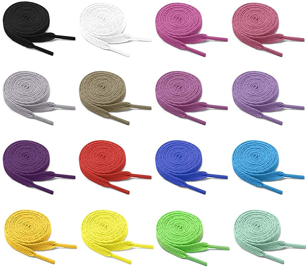 Pangaea [16 Pairs] Pack 31in 40in 47in 54in Flat Colored Shoe Laces Strings for Sneakers Skate Boots Sport