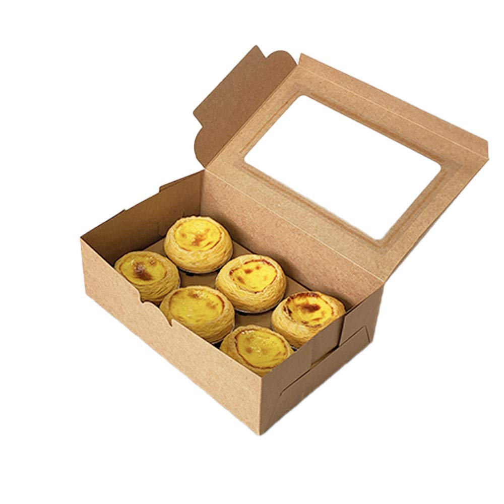 10 Packs 9.3x6.3x3 Inches Brown Bakery Boxes,Brown Cupcake Boxes 6 Holders Standard Cupcakes,with Window Paper Gift Boxes for Pastries, Cupcakes, Cakes and Cookies