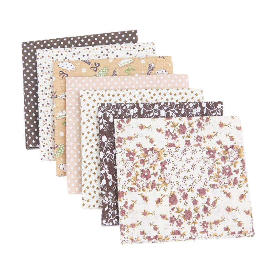 7pcs 19.6x19.6 Inch(50cm X 50cm) Cotton Craft Fabric Sewing Squares Quilting Fabric DIY Precut Cloth Sheets Patchwork Dots, Stars, Strip, Plaid, Flower (Coffee)