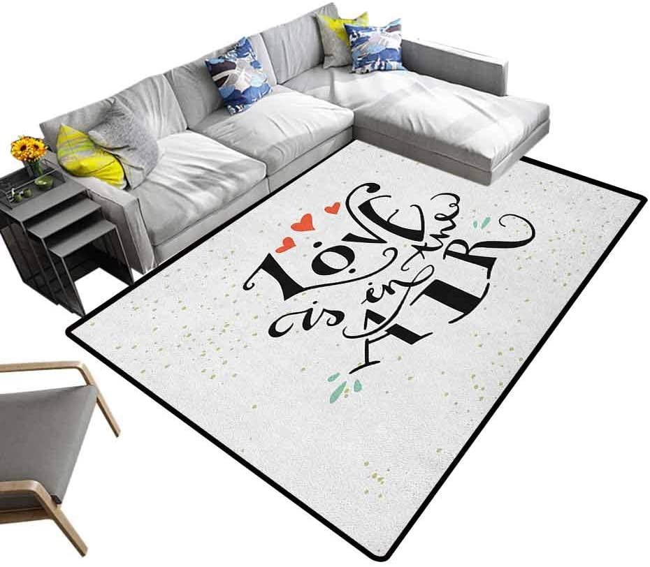 Indoor/Outdoor Rug Love, Polyester Fiber Area Rugs Love is in The Air Stylized Hand Lettering Inspirational Quote and Hearts Custom Sizing Available to Choose Black Vermilion Green, 6 x 9 Feet