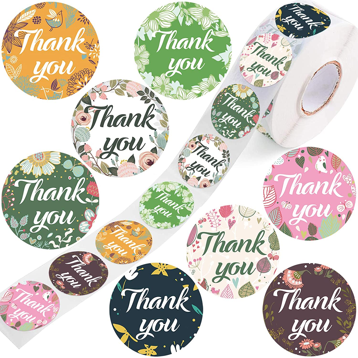 Thank You Stickers-Roll Floral 1000pcs — 8 Designs 1.5