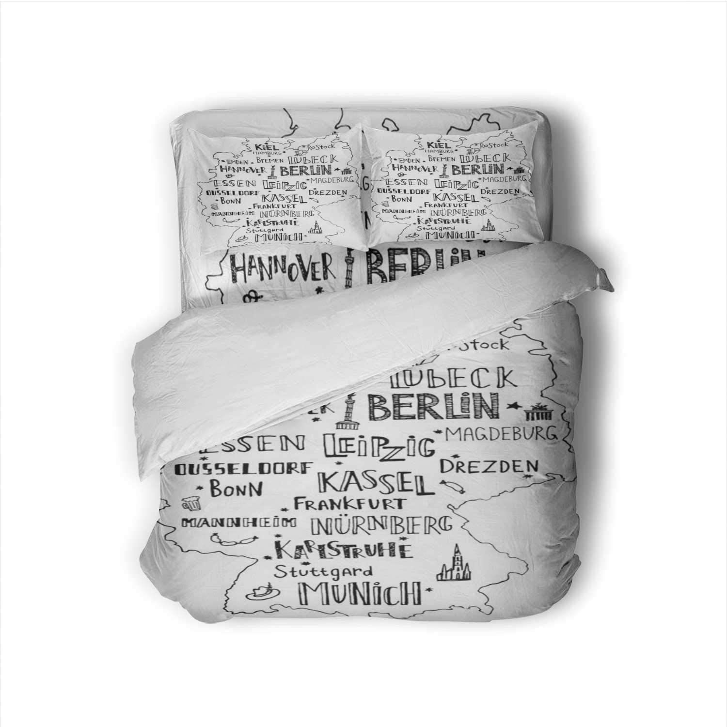 Hand drawn map of Germany with main cities and s.Handwritten name towns Germany.Vector - for p design or postcard. Germany,100% Cotton King Size Sheets Set - Soft 4 Piece Sheets and Pillowcases