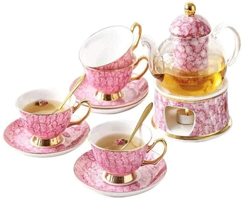 Tea Set Tea Sets Bone China Tea Set Heat-resistant Glass European Candle Heating Base Teapot Coffee Cup Set DYYD