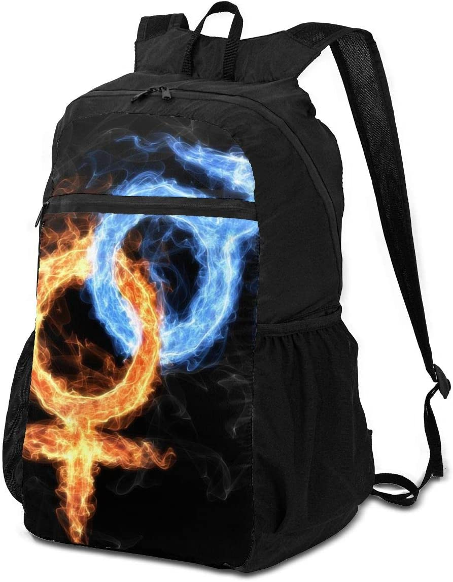 BackpackSymbol Male and Female, Ice and Fire, Men and Woman Backpack School Shoulder Backpacks Casual Daypack