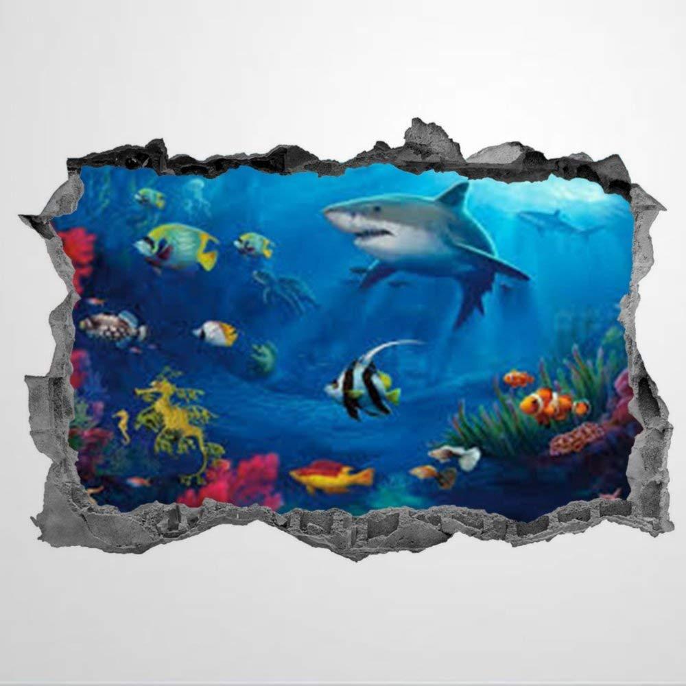 Shark Tropical Fish Shark Sea Life 3D Wall Mural Smashed Wall Creative Removable Poster Wall at Vinyl Decals for Bedroom Living Room Playroom Nursery Office Shop