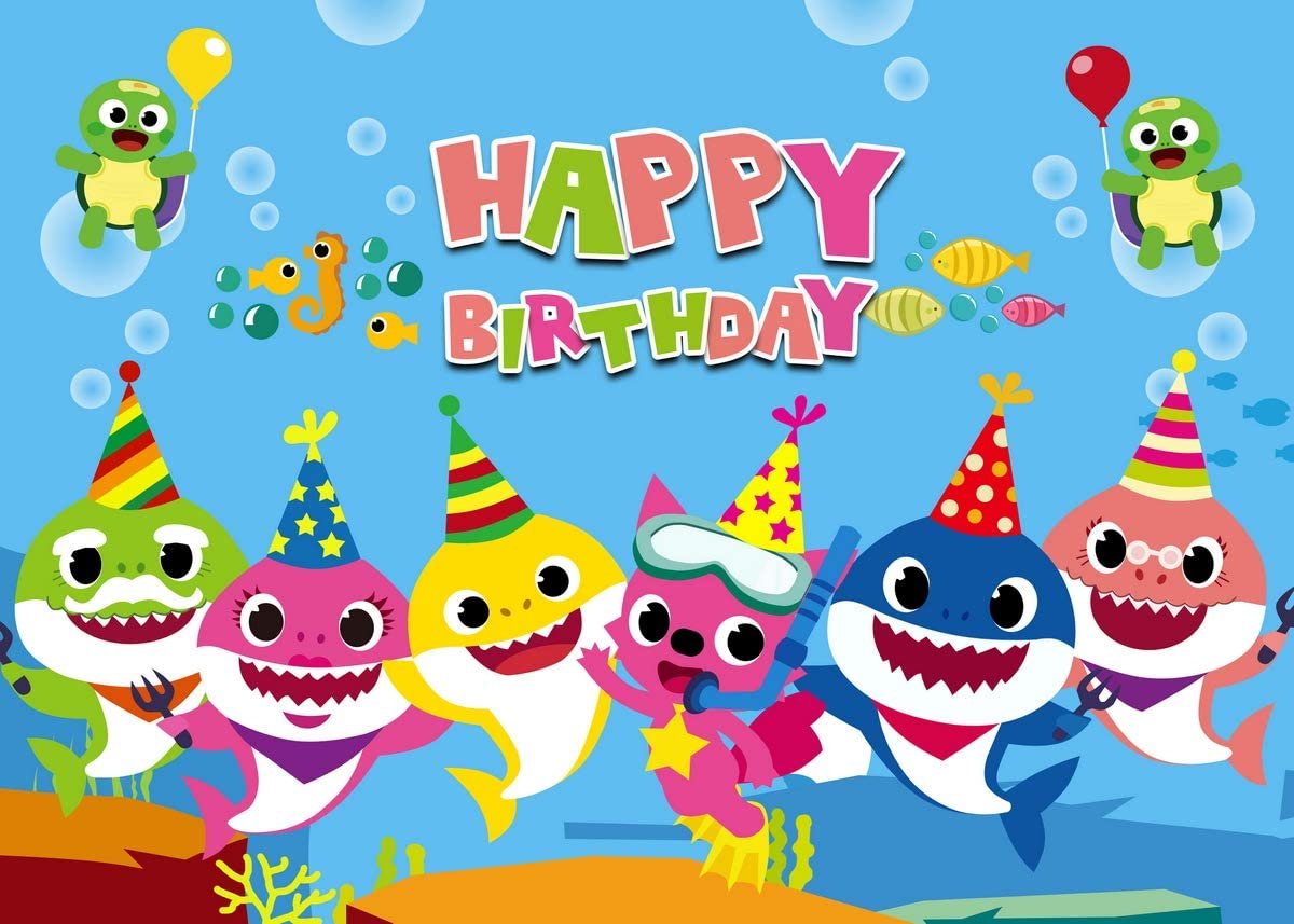 Baby Shark Photo Backdrop,Undersea World Photography Background for Children Happy Birthday Party,Baby Shower Photo Studio Decorations Props,5x7ft