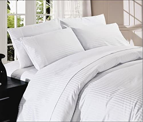 400 Thread Count Super Soft Extra Deep Pocket Sheet Set California King/ Western King Stripe White Fit Up to 30
