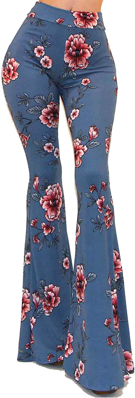 Vivicastle Womens USA Boho Solid Hippie Wide Leg Flared Bell Bottom Pants