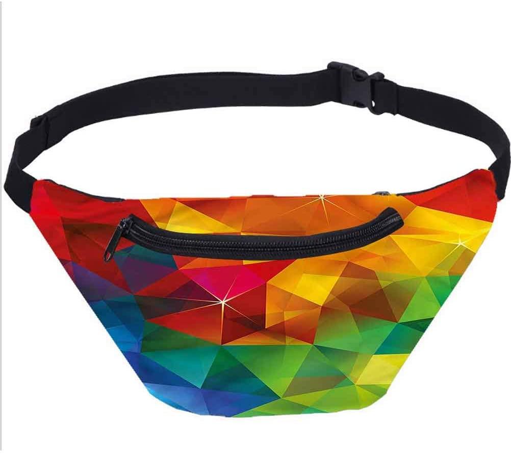 Geometrical Travel Fanny Bag,Modern Rainbow Ombre Waist Pack for Travel Cashier's Box