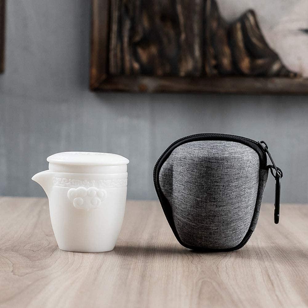 AIPZDJ Travel Tea Pot Ceramic Tea Pot Infuser Porcelain Teapot Portable Kung Fu Teapot 1 Pot 2 Cups with Portable Bag for Home Outdoor Picnic