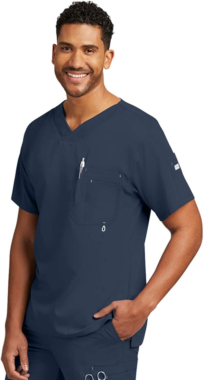 Grey's Anatomy Men's Modern Fit V-Neck Scrub Top, Steel, XX-Large