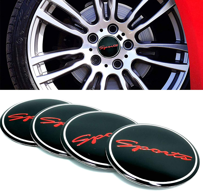 Voroly 4 Pcs Sports Wheel Center Caps 56.5mm/2.22inch Aluminium Car Wheel Center Hub Stickers Decals