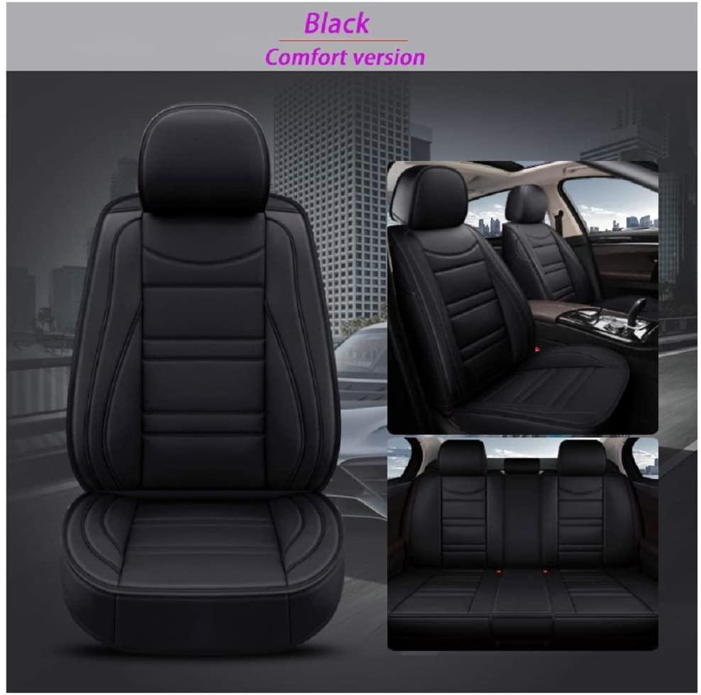 JOJOHON Luxury Leather Auto Car Seat Covers 5 Seats Full Set Universal Fit SR247 (Black)