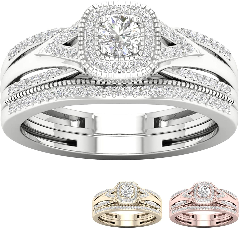IGI Certified 10k Gold 1/3Ct TDW Diamond Halo Engagement Ring Set (I-J,I2)