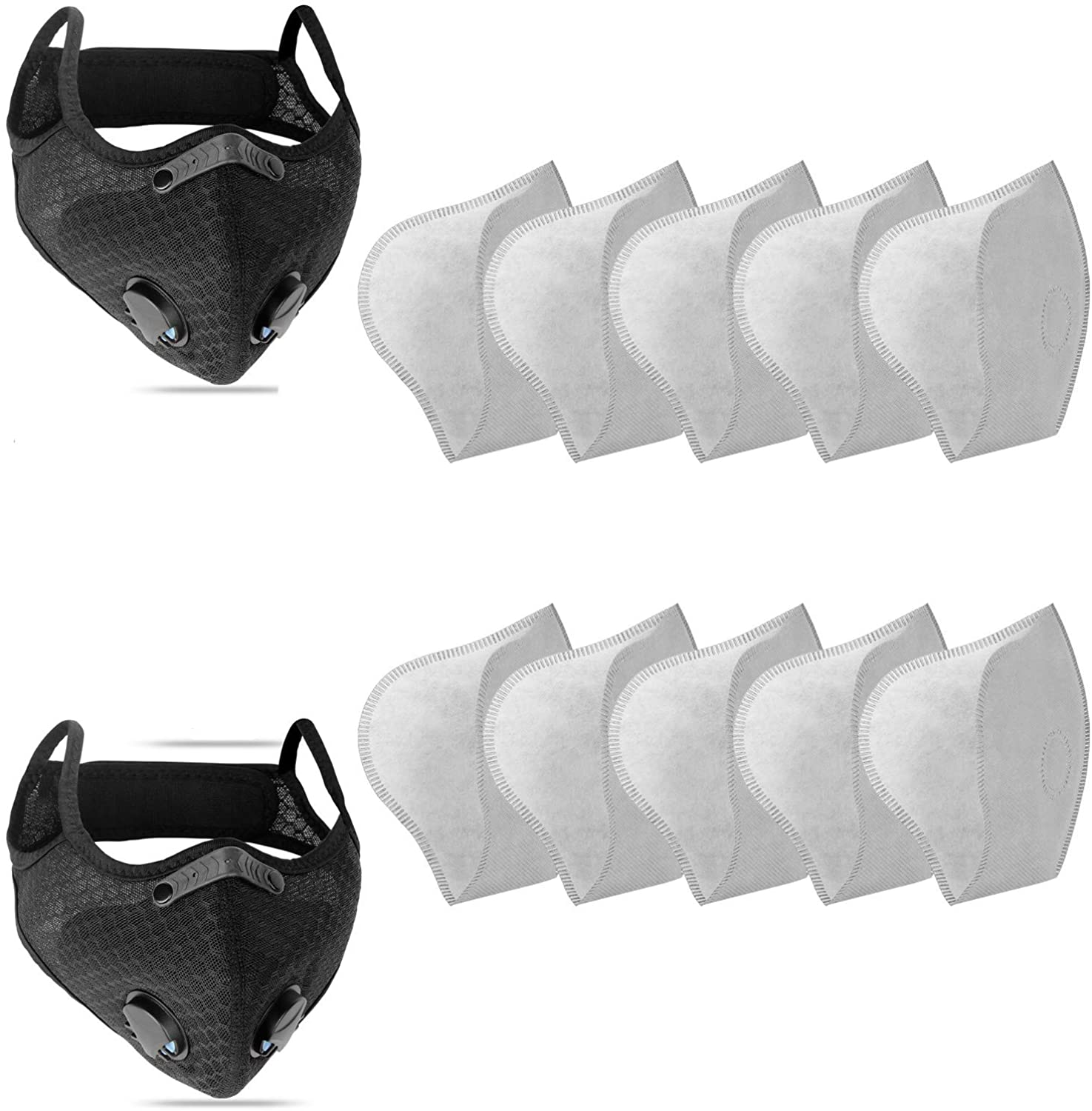 Sports Face Mask with Replaceable Activated Carbon Filters NESENNI Mask