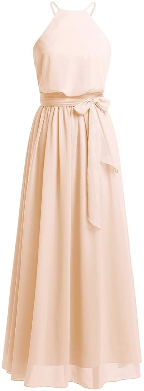 ACSUSS Women's Halter Chiffon Wedding Maxi Dress Evening Party Bridesmaid Long Dresses