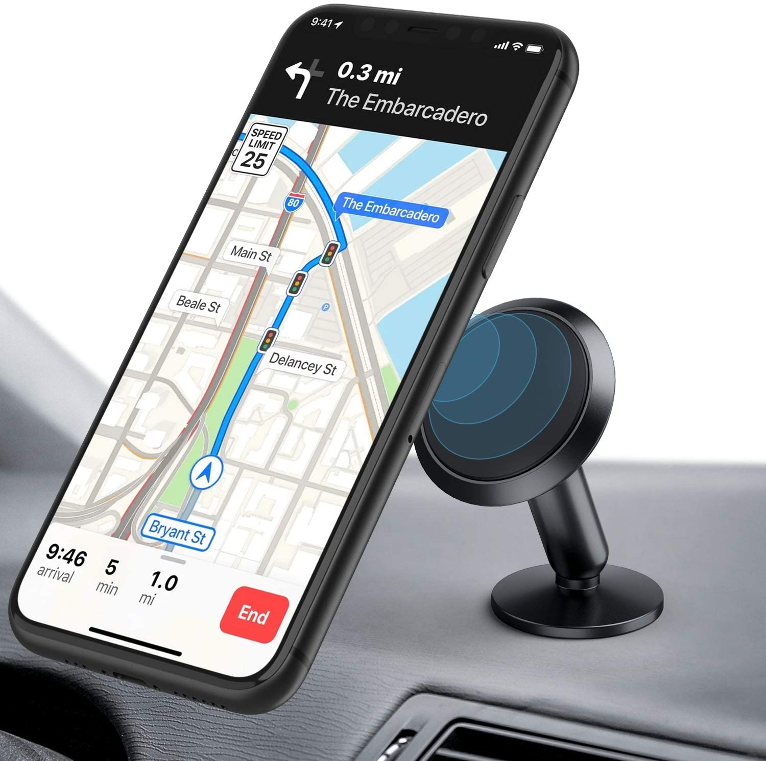 ORIbox Car Phone Mount, Magnetic phone car holder, 360° Rotation Car Phone Holder, Compatible with iPhone 12/11 Pro Max XS Max XR X 8 7 6S Plus SE 2020 12 mini,Samsung Galaxy