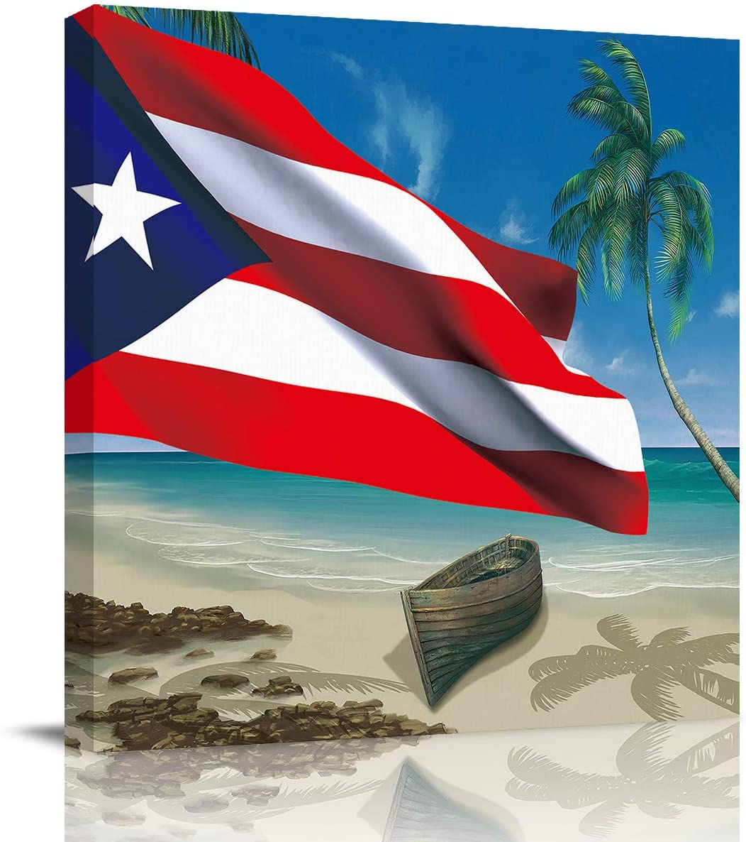Chucoco Oil Paintings On Canvas Wall Art Ocean Beach Puerto Rico Flag Photo Poster Prints Modern Artwork Home Decor for Living Room Kitchen, Stretched and Framed Ready to Hang,Coastal Boat