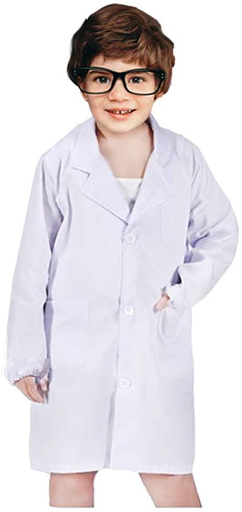 White Kids Lab Coat Children Cotton Uniforms Scientist Doctor Role Play Costume Dress-up