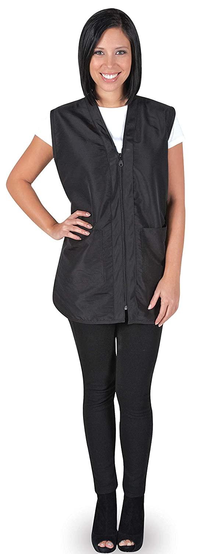 Betty Dain Professional Zip Front Salon Stylist Vest, V-Neck, Iridescent Fabric, Adjustable Belt, Two Lower Pockets with Zippered Bottoms, Lightweight, Machine Washable Nylon, Black, S
