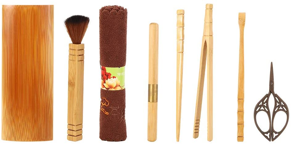HERCHR 9Pcs Travel Kung Fu Tea Set, Chinese Tea Set Bamboo with Portable Storage Case for Tea Ceremony Lovers