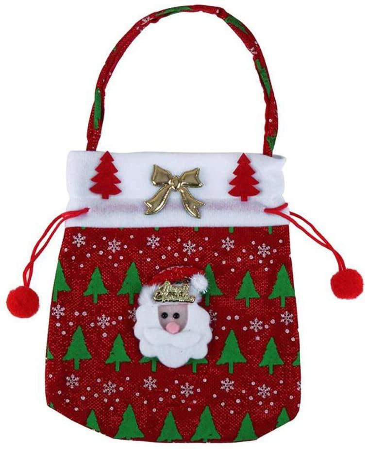 Chrismas Santa Claus Kids Candy Gift Bags Handbag Pouch Wedding Sack Present Bag Christmas Decoration Cute Santa Gift Bag (2)