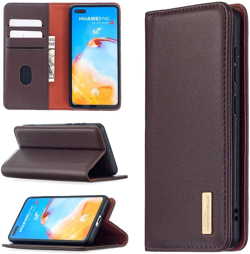 Phone Belt Clips Separated Leather Mobile Phone Holster for HUAWEI P40 [with Card Slot, Coin Clip] with Bracket Function, Genuine Leather Magnet Wallet Flip Protective Case ( Color : Dark brown )