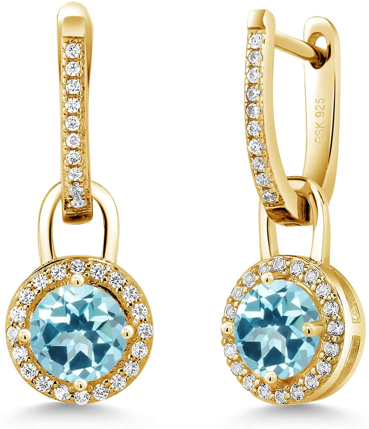 18K Yellow Gold Plated Silver Dangle Earrings White Created Sapphire and Set with Ice Blue Topaz from Swarovski